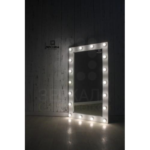 Гримерное зеркало с подсветкой лампами 140х80 см