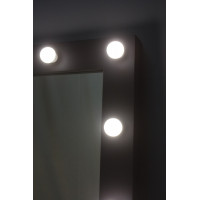 Гримерное зеркало 80х60 с подсветкой лампами черное